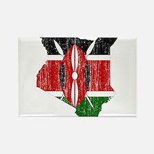 Kenya Flag And Map Rectangle Magnet