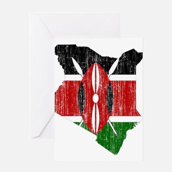 Kenya Flag And Map Greeting Card