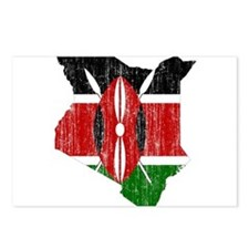 Kenya Flag And Map Postcards (Package of 8)