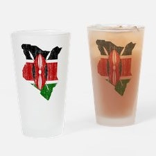 Kenya Flag And Map Drinking Glass