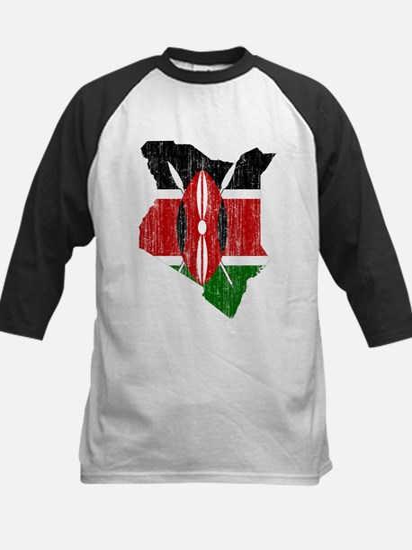 Kenya Flag And Map Kids Baseball Jersey