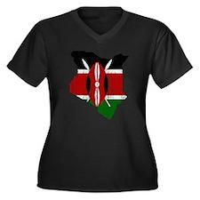 Kenya Flag And Map Women's Plus Size V-Neck Dark T