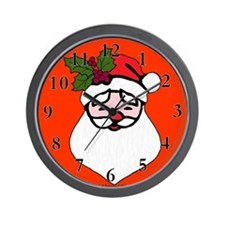 Santa with Holly Sprig Wall Clock