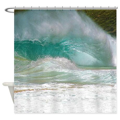 sandy beach shorebreak shower curtain by surf city hawaii