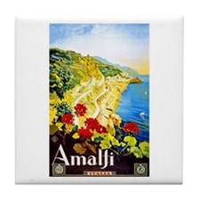 Amalfi Italy Travel Poster 1 Tile Coaster