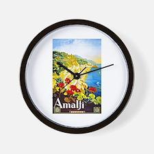 Amalfi Italy Travel Poster 1 Wall Clock