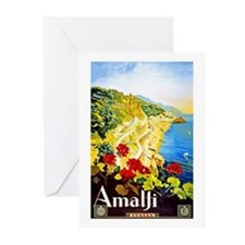 Amalfi Italy Travel Poster 1 Greeting Cards (Pk of
