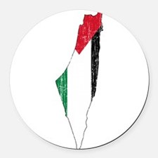 Palestine Flag And Map Round Car Magnet