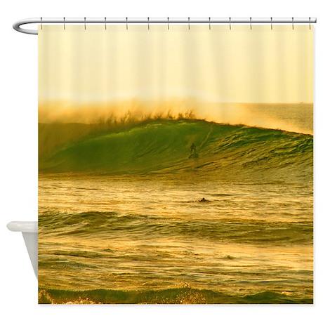 Sunset Surfing Hawaii Tropical Shower Curtain