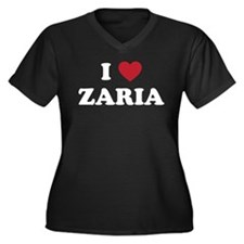 I Love Zaria Women's Plus Size V-Neck Dark T-Shirt