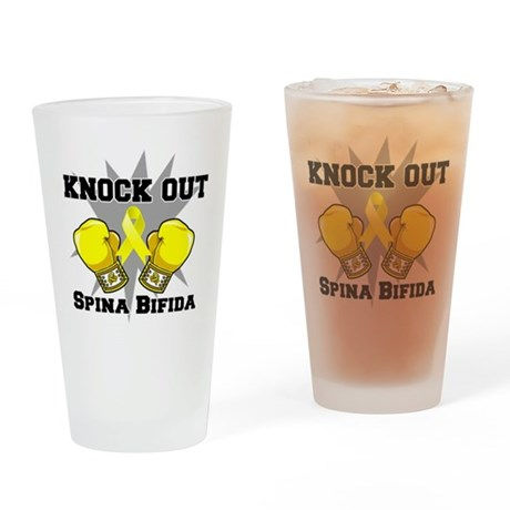 Knock Out Spina Bifida Drinking Glass