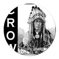 CROW INDIAN CHIEF Round Car Magnet