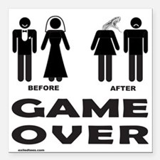 "GAME OVER Square Car Magnet 3"" x 3"""
