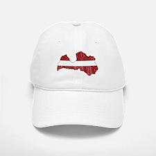 Latvia Flag And Map Baseball Baseball Cap