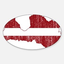 Latvia Flag And Map Sticker (Oval)