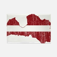 Latvia Flag And Map Rectangle Magnet