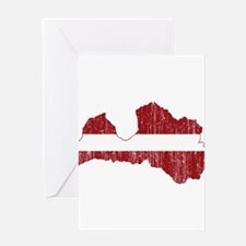 Latvia Flag And Map Greeting Card