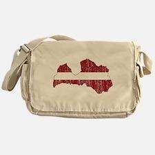 Latvia Flag And Map Messenger Bag
