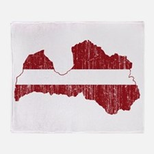 Latvia Flag And Map Throw Blanket