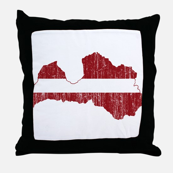 Latvia Flag And Map Throw Pillow