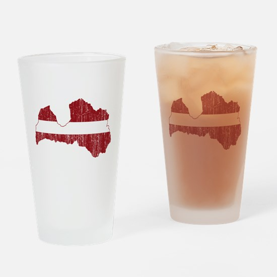 Latvia Flag And Map Drinking Glass