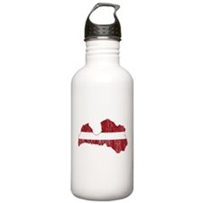 Latvia Flag And Map Water Bottle
