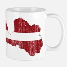 Latvia Flag And Map Mug