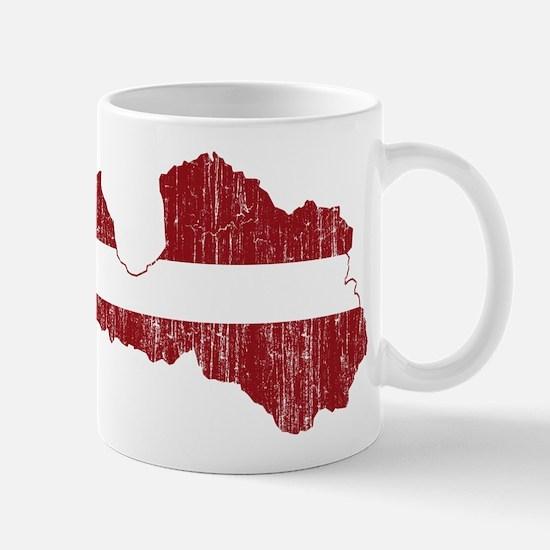 Latvia Flag And Map Mug