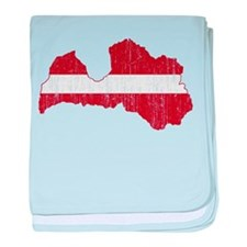 Latvia Flag And Map baby blanket