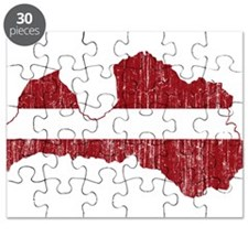 Latvia Flag And Map Puzzle