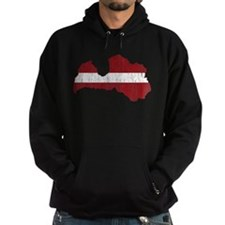Latvia Flag And Map Hoodie