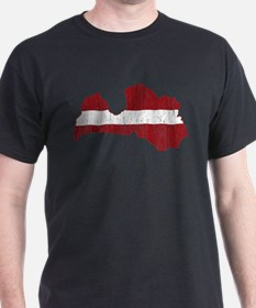 Latvia Flag And Map T-Shirt