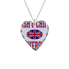 FISH AND CHIPS Necklace Heart Charm