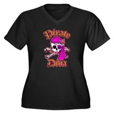 PIRATE DIVA Women's Plus Size V-Neck Dark T-Shirt