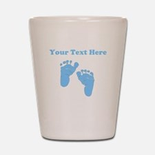 Personalized Baby Feet Blue Shot Glass