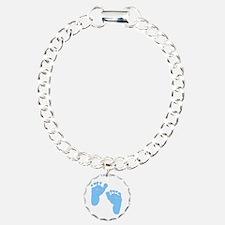 Personalized Baby Feet Blue Bracelet