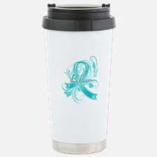 Ovarian Cancer Believe Travel Mug