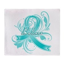 Ovarian Cancer Believe Throw Blanket