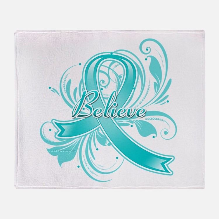 Ovarian Cancer Believe Throw Blanket