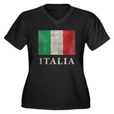 Vintage Italia Women's Plus Size V-Neck Dark T-Shi