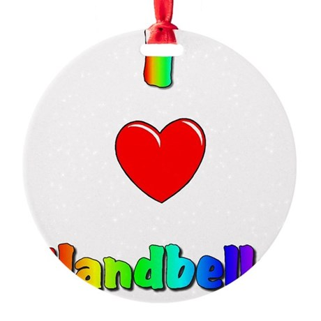 I love handbells big.jpg Round Ornament
