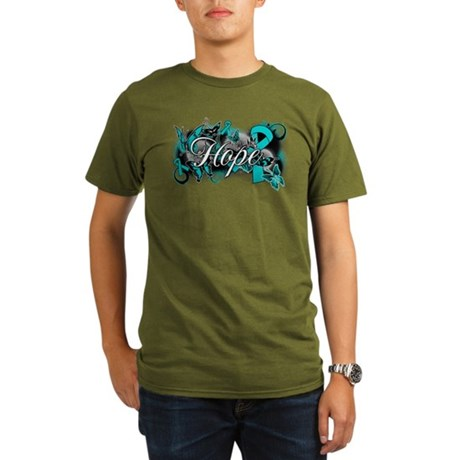 Ovarian Cancer Hope Garden Ribbon Organic Men's T-