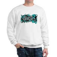 Ovarian Cancer Hope Garden Ribbon Sweatshirt