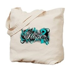 Ovarian Cancer Hope Garden Ribbon Tote Bag
