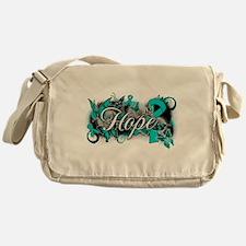 Ovarian Cancer Hope Garden Ribbon Messenger Bag