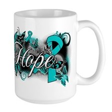 Ovarian Cancer Hope Garden Ribbon Ceramic Mugs