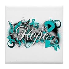 Ovarian Cancer Hope Garden Ribbon Tile Coaster
