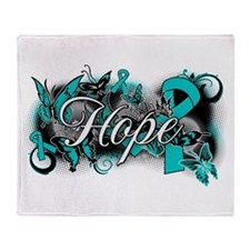 Ovarian Cancer Hope Garden Ribbon Throw Blanket