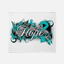Ovarian Cancer Hope Garden Ribbon Throw Blanket