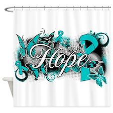 Ovarian Cancer Hope Garden Ribbon Shower Curtain